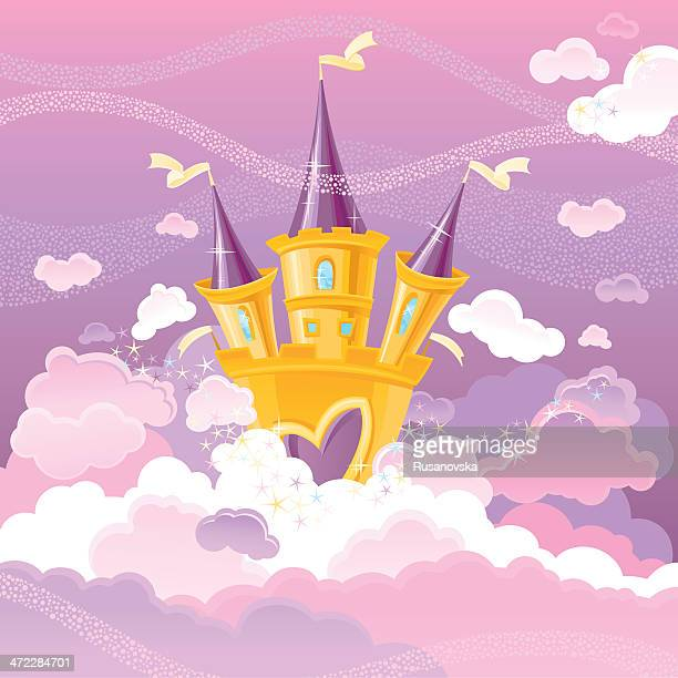 magic sky castle - castle stock illustrations, clip art, cartoons, & icons