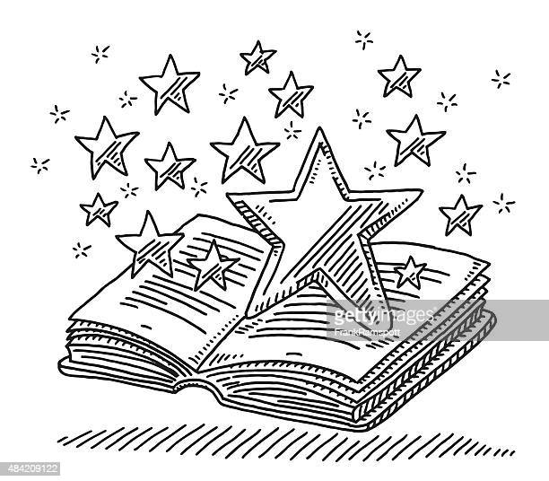 Magic Stars Over Open Book Drawing