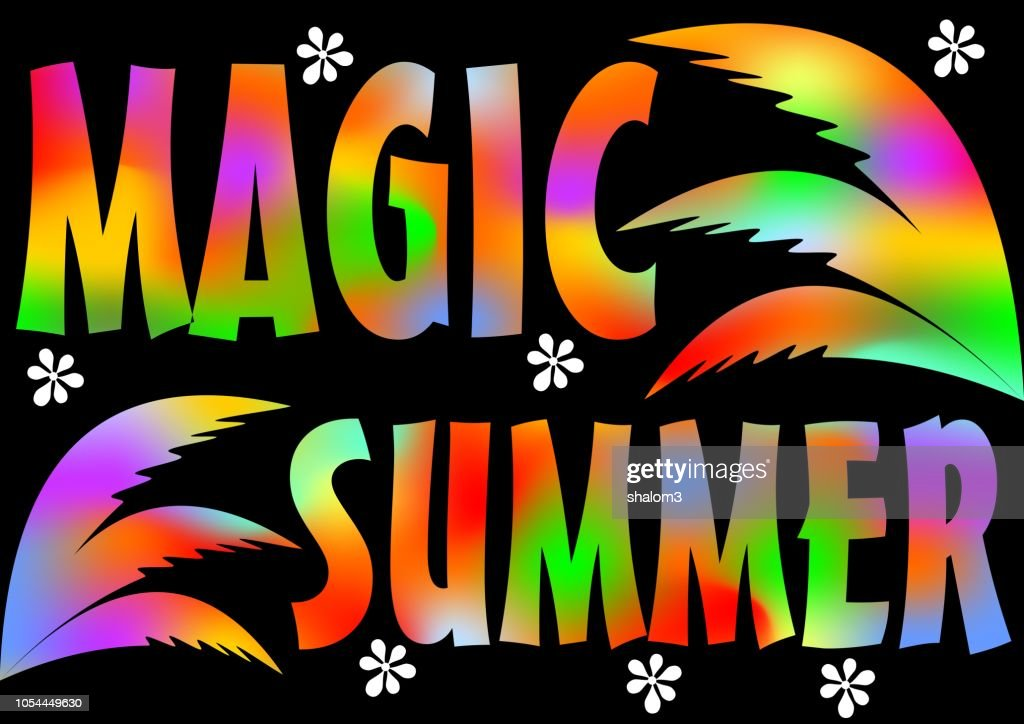 Magic Summer Beach Party. Magic Summer vacation and travel. Vivid poster colorful background with palm leaves. Music summer party festival.