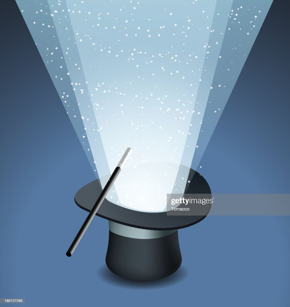 Magic Top Hat with Wand Trick and Stars Light