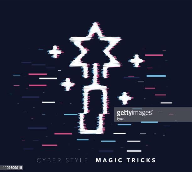 magische tricks glitch effekt vektorgrafik-symbol - wizard stock-grafiken, -clipart, -cartoons und -symbole