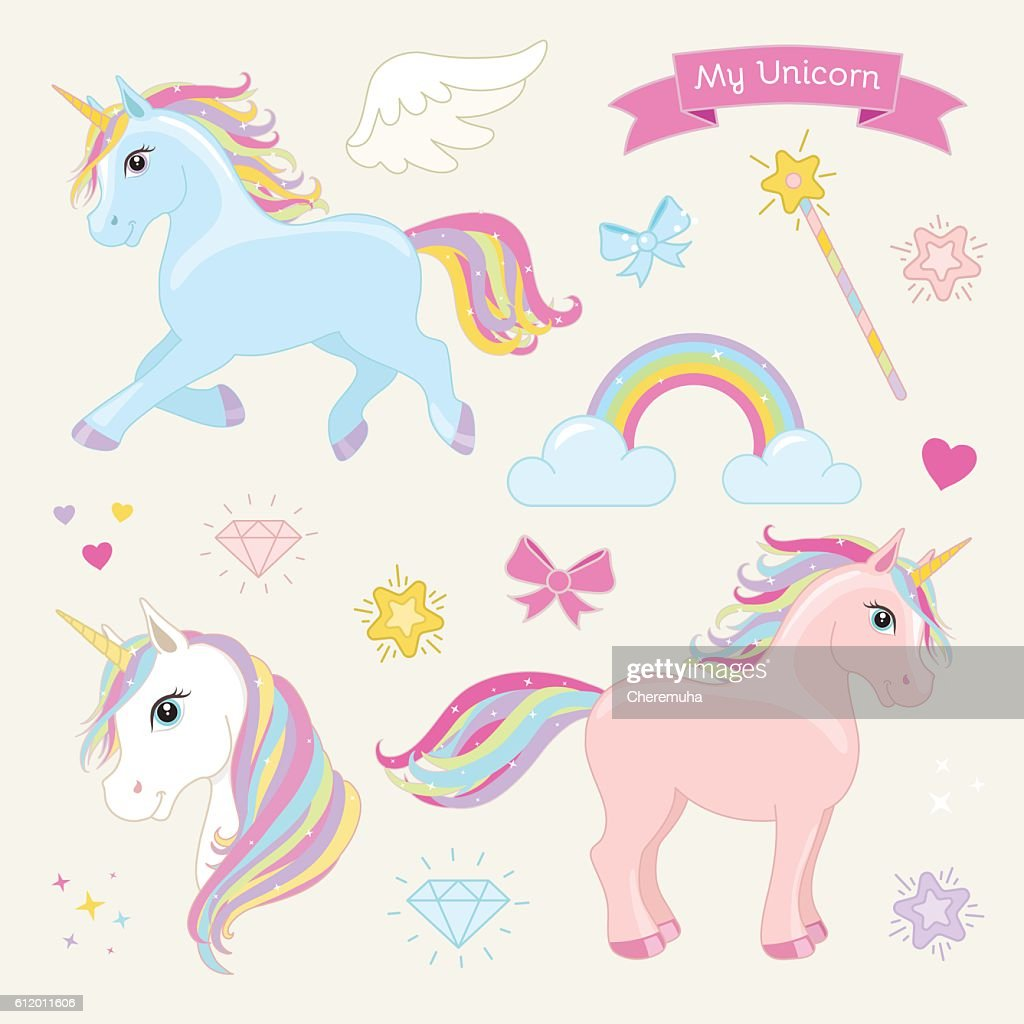 Magic unicorn vector set. Unicorns in Action.