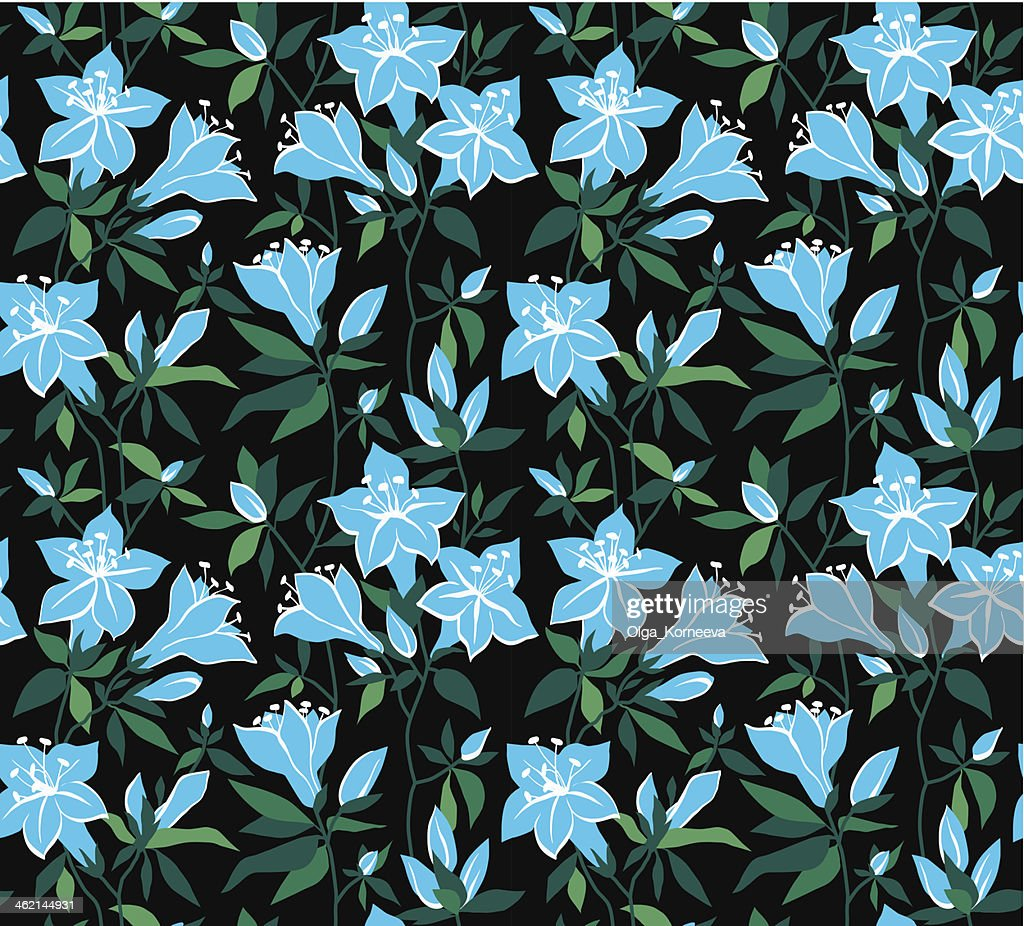 Magic vector seamless floral background with blue flowers