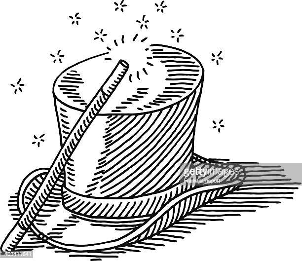 magic wand top hat drawing - magic wand stock illustrations