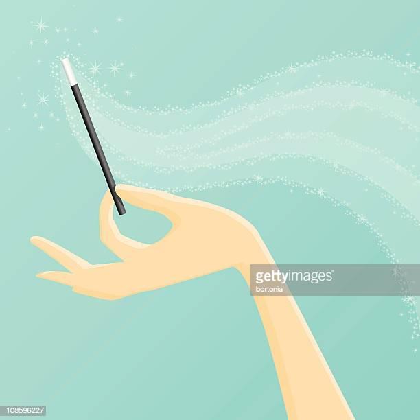 illustrazioni stock, clip art, cartoni animati e icone di tendenza di bacchetta magica - bacchetta