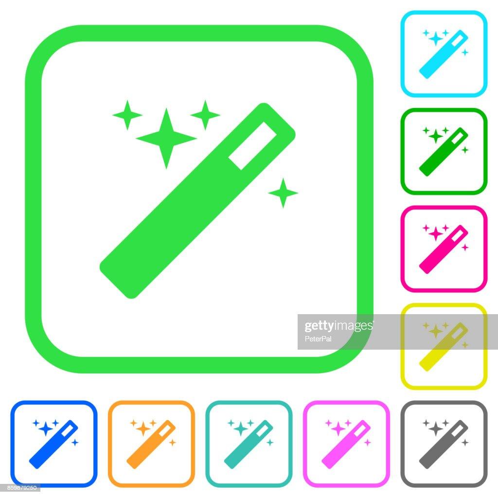 Magic wand vivid colored flat icons icons