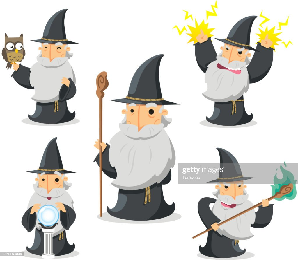 Magic Witch Wizard in action With owl and crystal ball
