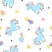 Magical baby background with unicorns