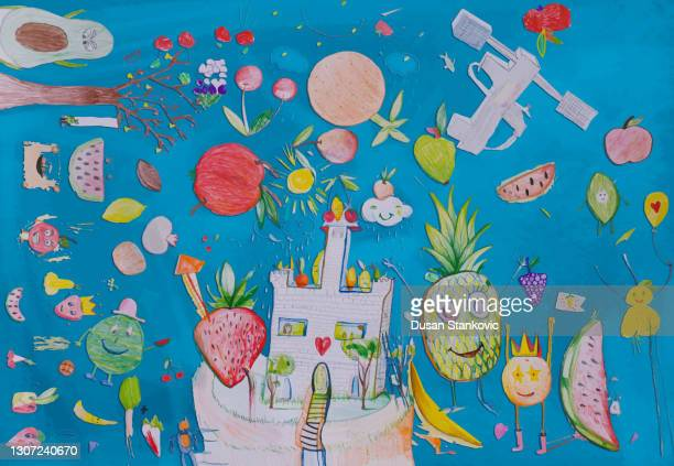 magical world of children's drawing - collagen stock illustrations