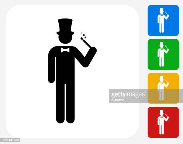 zauberer-symbol flache grafik design - wizard stock-grafiken, -clipart, -cartoons und -symbole