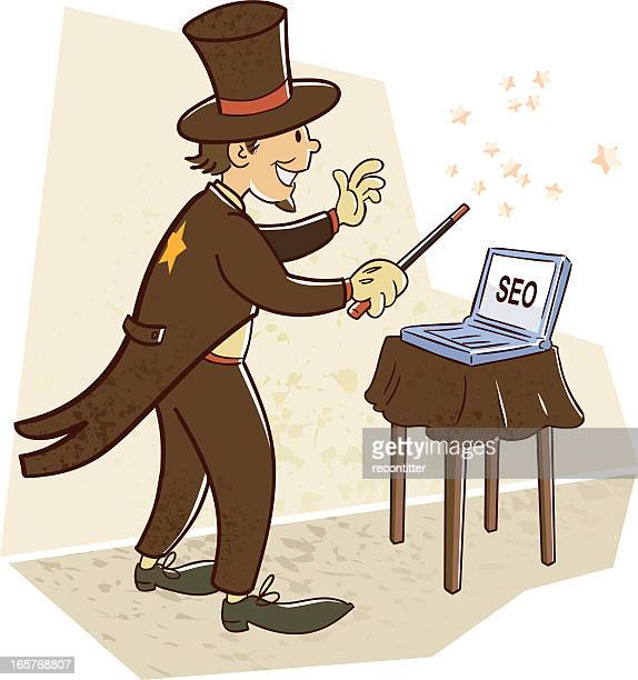 magician in seo marketing - retro style - online advertising stock illustrations, clip art, cartoons, & icons
