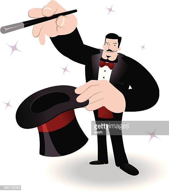 Magician performing tricks with a magic wand and top hat