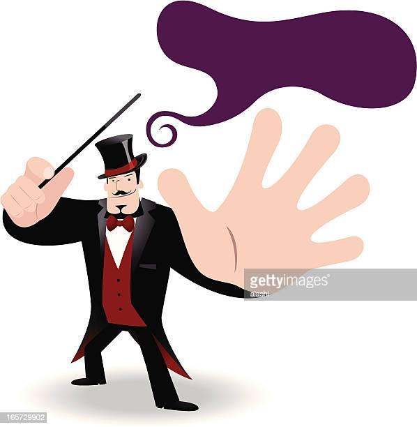 zauberer performing tricks mit zauberstab - wizard stock-grafiken, -clipart, -cartoons und -symbole