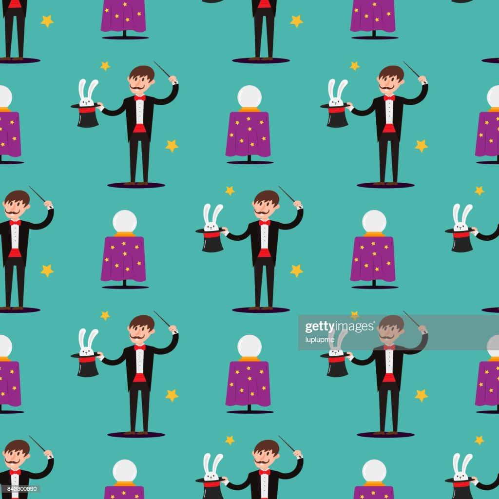 Magician prestidigitator illusionist character tricks seamless pattern vector illustration magic conjurer show cartoon man