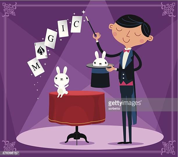 magician - magic trick stock illustrations, clip art, cartoons, & icons