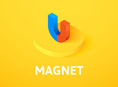 Magnet isometric icon, isolated on color background