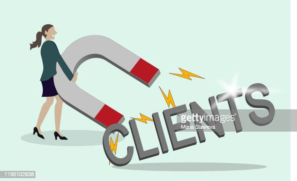 magnet. new business clients and customers. - pbs stock illustrations