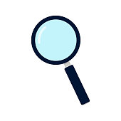 Magnifier flat isolated on white background