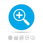 Magnifier glass sign icon. Zoom tool. Navigation.