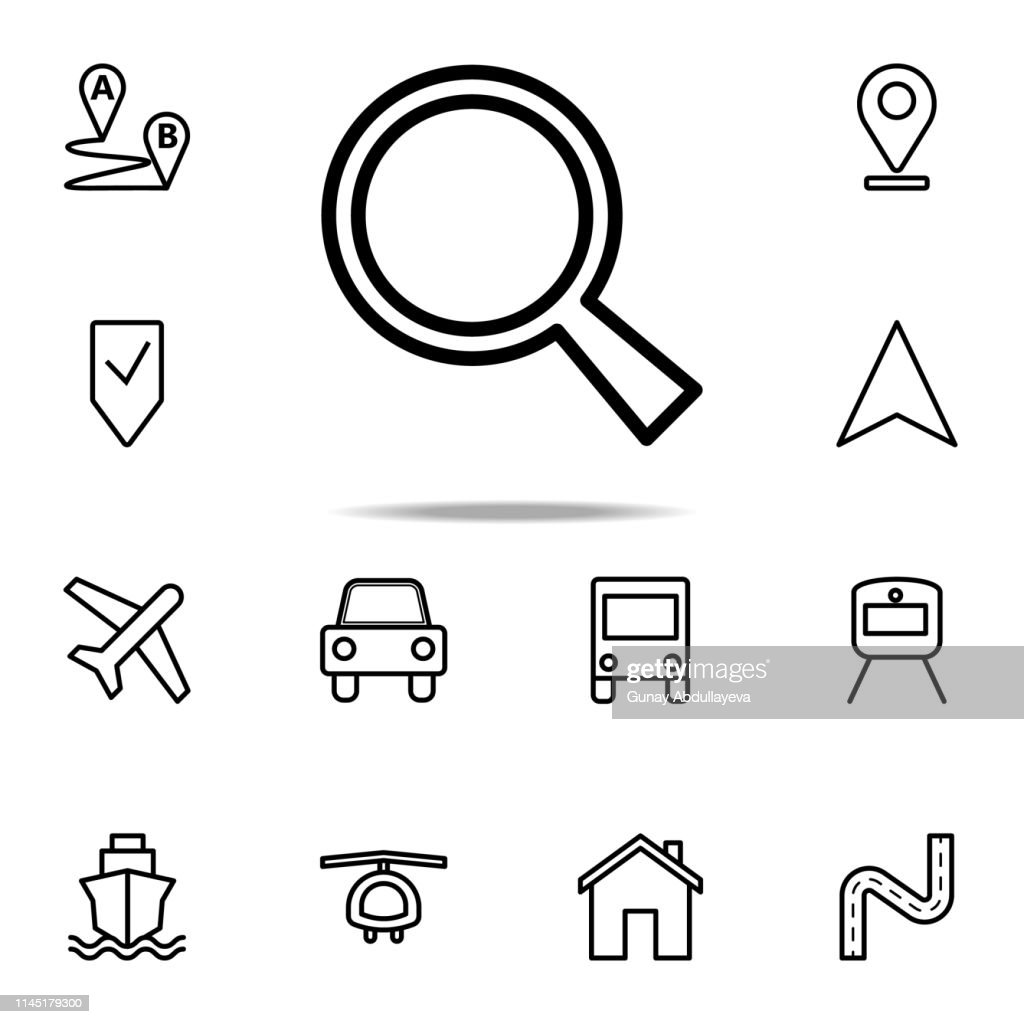 magnifier icon. Navigation icons universal set for web and mobile