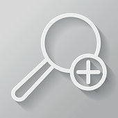 Magnify Paper Thin Line Interface Icon With Long Shadow