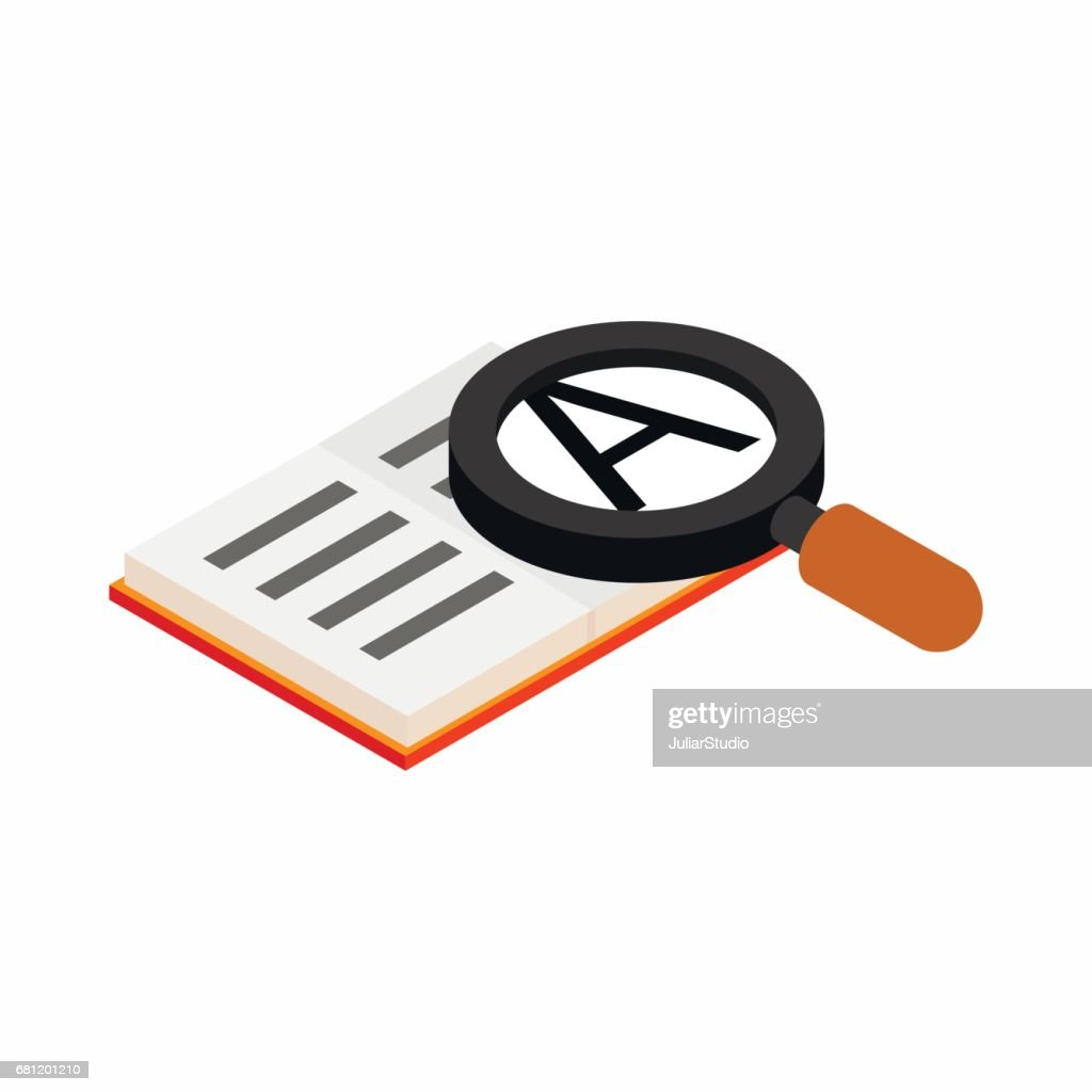 Magnifying glass and book icon, isometric 3d style