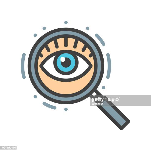 magnifying glass and eye line icon - exploration stock illustrations
