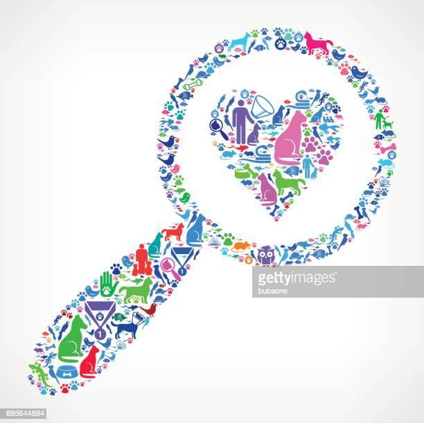 虫眼鏡と心ペットと動物ベクトル アイコン背景 - heart shape点のイラスト素材/クリップアート素材/マンガ素材/アイコン素材