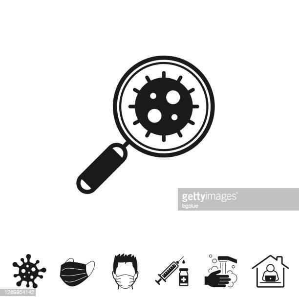 lupe coronavirus. symbol für design auf weißem hintergrund - kontaminierung stock-grafiken, -clipart, -cartoons und -symbole