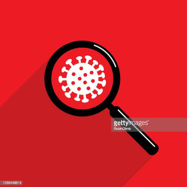 magnifying glass coronavirus icon red - infectious disease stock illustrations