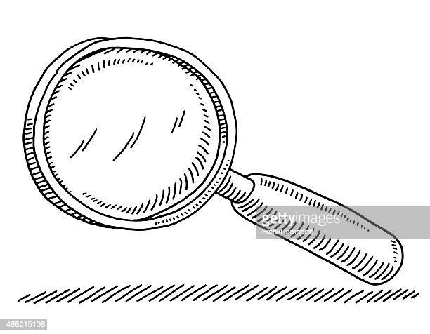 magnifying glass drawing - magnification stock illustrations