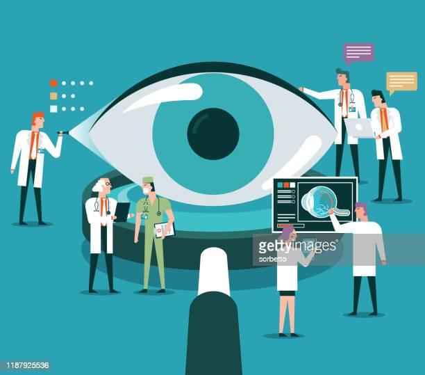 ilustrações, clipart, desenhos animados e ícones de lupa - visão - retina globo ocular