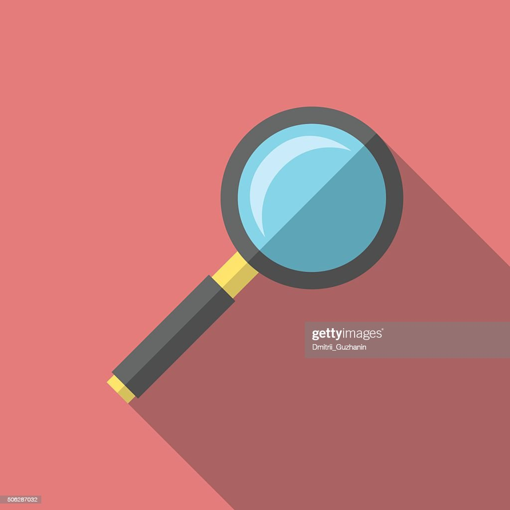 Magnifying glass, flat style