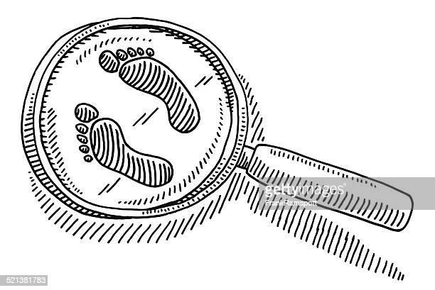 stockillustraties, clipart, cartoons en iconen met magnifying glass footprint drawing - vinden