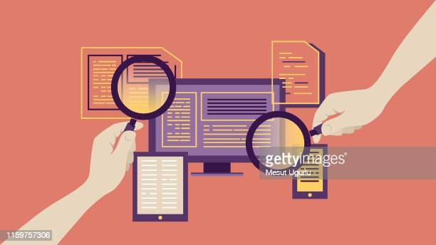 magnifying glass for searching report - market research stock illustrations