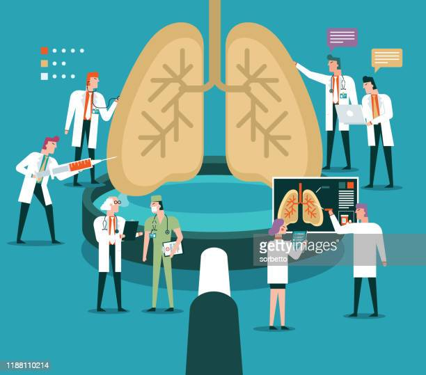 magnifying glass - human lungs - animal body part stock illustrations