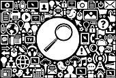 Magnifying Glass  Icon Black and White Internet Technology Background