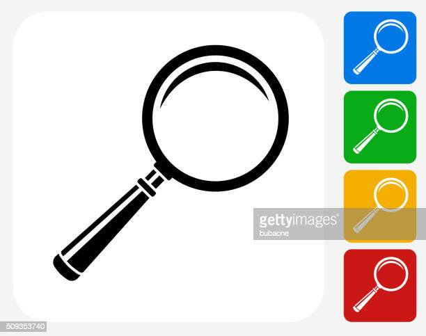 magnifying glass icon flat graphic design - magnifying glass stock illustrations