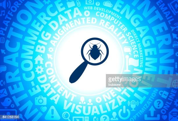 Magnifying Glass Icon on Internet Modern Technology Words Background