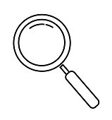 Magnifying glass line icon outline vector sign isolated on white