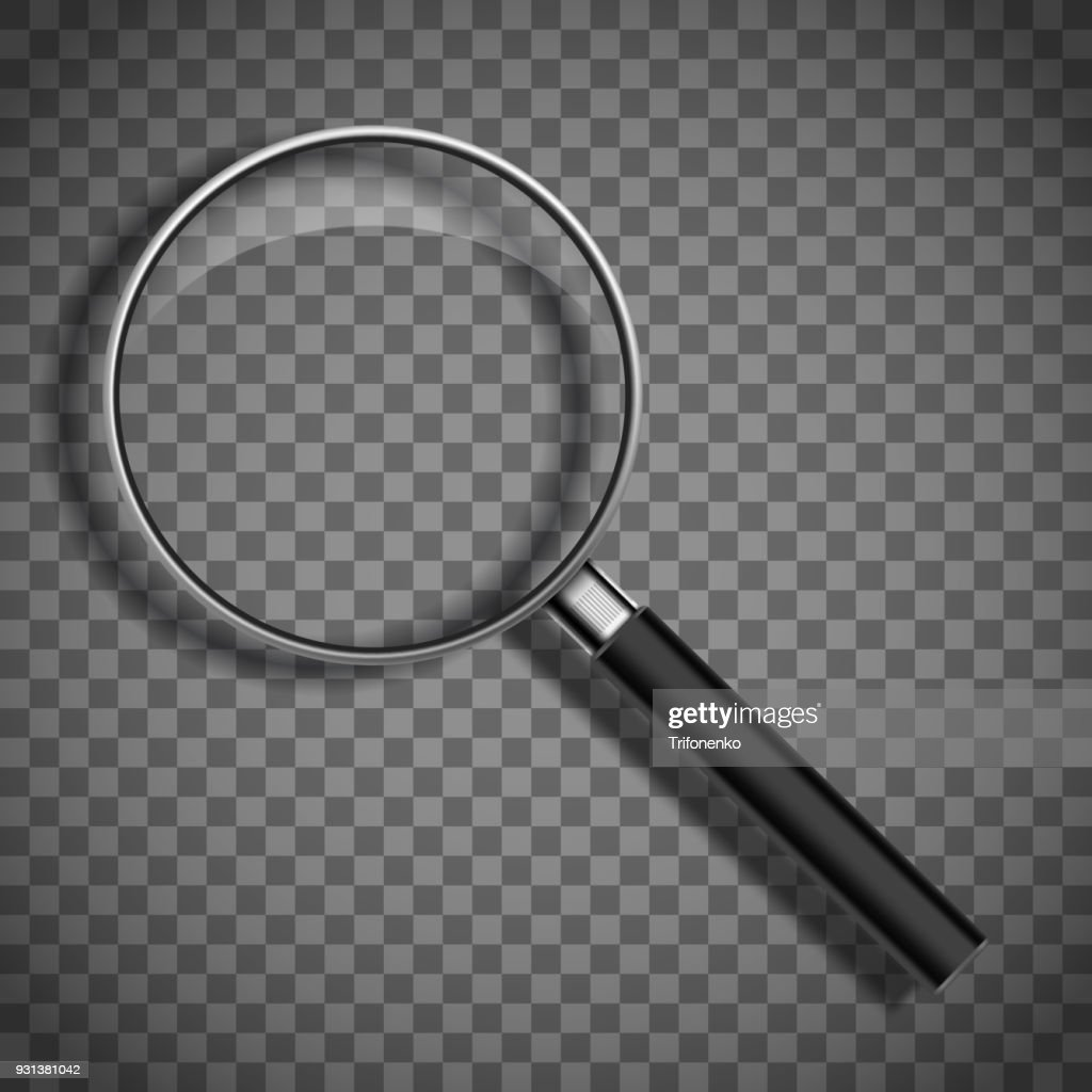 Magnifying glass on a transparent background.