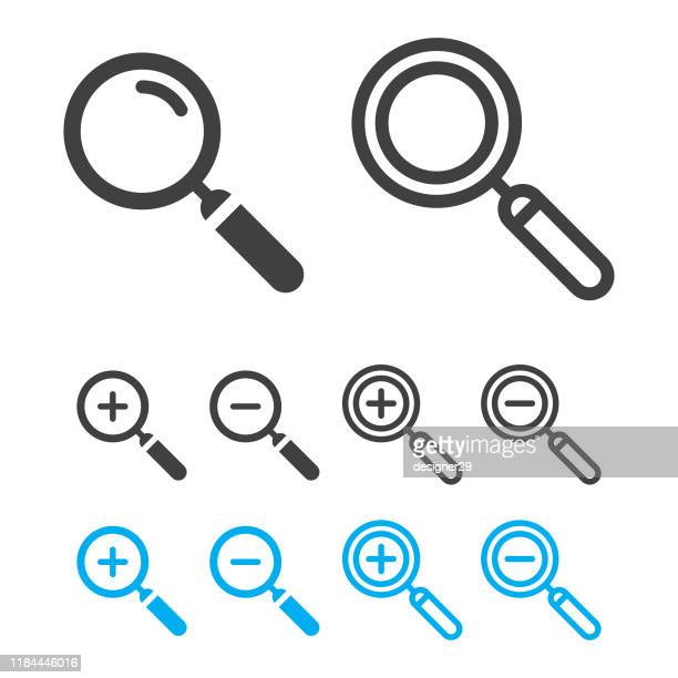 magnifying glass or search icon set and zoom in, zoom out vector design. - {{asset.href}} stock illustrations