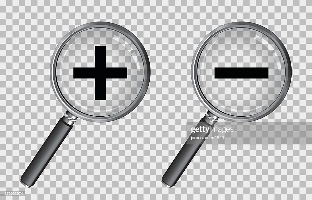 magnifying glass plus and minus
