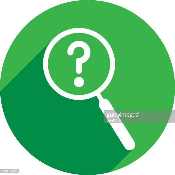 magnifying glass question mark icon silhouette - mystery stock illustrations