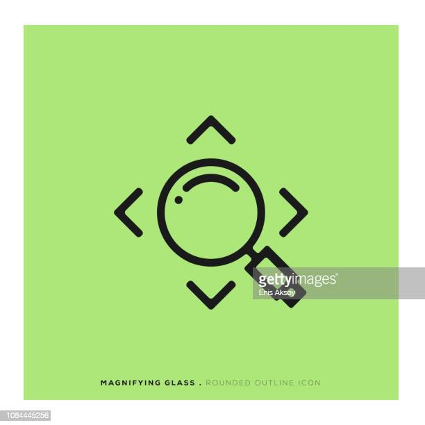 magnifying glass rounded line icon - focus stock illustrations