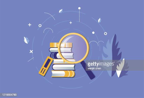 magnifying glass search for books - literature stock illustrations