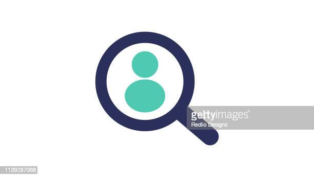ilustraciones, imágenes clip art, dibujos animados e iconos de stock de lupa de búsqueda de personas icono - lupa instrumento óptico