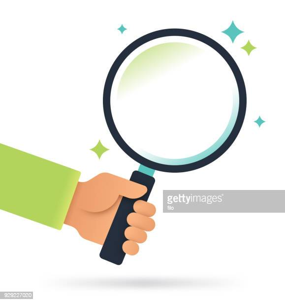 magnifying glass search - holding stock illustrations, clip art, cartoons, & icons