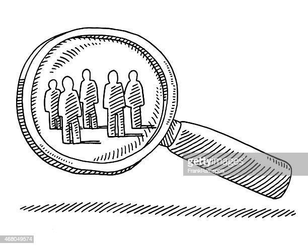 lupe target gruppe von menschen zieht - zielgruppe stock-grafiken, -clipart, -cartoons und -symbole