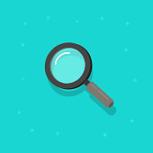 Magnifying glass vector icon, flat cartoon magnifier or loupe symbol isolated clipart